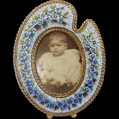Micro Mosaic frame depicting blue flowers on a white ground,19th century
