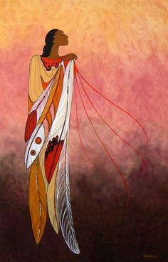 Ancestral pride by Maxine Noel(Sioux). Ioyan Mani…to walk beyond. A visionary elder gave Maxine Noel her Sioux name shortly after birth and walk beyond she has. Over the past twenty years Maxine has had immense success with a career in the arts. Her presentation is fresh and distinctly modern with mystical and spiritual qualities. The flowing lines indicate strength and serenity while the simplicity of composition and abstraction give her paintings a unique character.