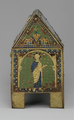 Chasse with Christ in Majesty and Apostles. ca. 1190–1200. Limoges. Copper: engraved, chiseled, stippled, gilt; champlevé enamel: blue-black, dark, medium, and light blue; turquoise, green, yellow, red, translucent red, and white.
