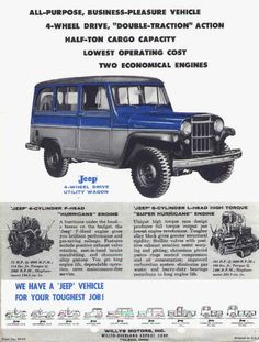 Holy Toledo: '60 Willys Jeep Wagon | Mint2Me Vintage Trucks, Old Trucks, Pickup Trucks, Vintage Jeep, Station Wagon, Willys Wagon, Jeep Willys, 2013 Jeep Wrangler Unlimited, Jeep Concept