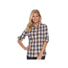 Women's Woolrich Tall Pine Plaid Seersucker Shirt, Size: Medium, Natural