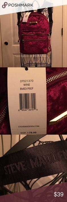 NWT Steve Madden velvet backpack NWT Steve Madden velvet backpack, burgundy with gold hardware. Open to offers! Steve Madden Bags Backpacks
