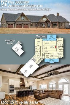 Architectural Designs Country Craftsman House Plan 360012DK 4+ BR | 3.5 BA | 3,200+ Sq.Ft. | Ready when you are. Where do YOU want to build? #360012DK #adhouseplans #architecturaldesigns #houseplan #architecture #newhome #newconstruction #newhouse #homedesign #dreamhome #dreamhouse #homeplan #architecture #architect
