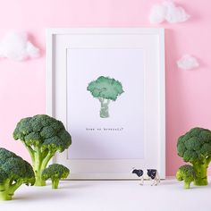 Kitchen Print  Broccoli Art  Foodie Illustration  by bryonyfripp