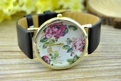 Watch floral, fleur montre, montre en cuir de Style Vintage, montres femmes montre unisexe, copain Watch, noir cuir Watch N523