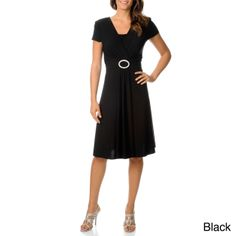 A cinched buckled waist creates an elegant, flattering drape in this classic dress from R
