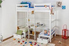 Lit pour enfants / lit superposé / lit fonctionnel Tim hêtre massif laqué en blanc (transformable dans un table avec baquettes ou 2 lit simple), avec sommier déroulable - 90x200 cm Steiner Shopping http://www.amazon.fr/dp/B00S1GCO68/ref=cm_sw_r_pi_dp_ziGkwb1CXTXPG
