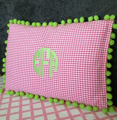⚓Monogrammed Pom Pom Pillow 12 x 16 by peppermintbee on Etsy, $44.00  Share & Win this adorable Pompom + Monogram Pillow on Instagram!!!  Tag #peppermintbeepillowparty #peppermintbee @Kaellyn Norby Norby Norby Marrs Colinabarranco Bee