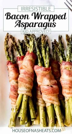 Bacon Wrapped Asparagus takes your favorite green stalky vegetable to a whole new level! This make-ahead side dish is so easy to throw together and ready in right around 30 minutes! It's salty and sweet, sprinkled with a little brown sugar before baking. This is the ultimate vegetable side for family dinners and holiday meals! #bacon #wrapped #asparagus #sidedish #vegetables #spring #Easter #holiday #Thanksgiving #Christmas #easy #appetizer