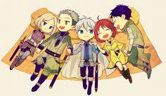 Akagami no Shirayukihime / Snow White with the red hair anime and manga || Shirayuki, Prince Zen, Mitsuhide, Kiki, and Obi <333