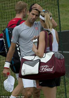 Wimbledon favourite Novak Djokovic greeted Russian player, Maria Sharapova, on the practic...