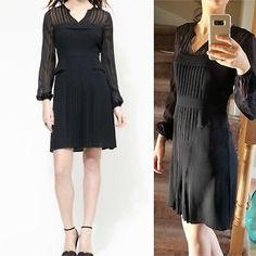 c879064e6e19b BCBG Max Azria  Joni  Black Pleated Sheer Long Sleeve Dress Striped Yoke  Silk 6