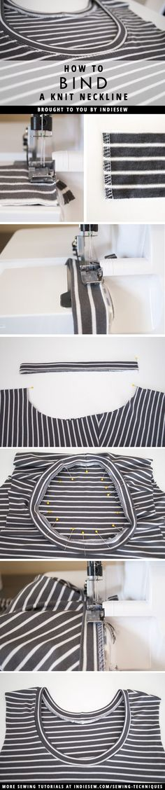 How to Bind a Knit Neckline | Indiesew.com How to Sew Knits with a Serger | Sewing with Jersey | Best Tips for Sewing Knits