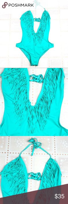 L Space green monokini swimsuit with fringe  Large L Space green monokini swimsuit with fringe at top. Halter ties. Size Large. Made in the OC. l*space Swim One Pieces