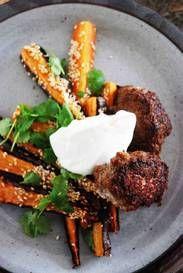 Sesam- och spiskumminrostade morötter med lammbiffar och fetaostkräm | Mat & Vin | Aftonbladet Tandoori Chicken, Ethnic Recipes, Food, Mat, Fancy, Essen, Meals, Yemek, Eten