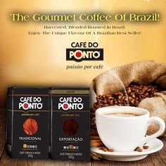 Café Do Ponto. Is one of the most popular Brazilian Gourmet Coffee's. It has a delightful aroma, mild body and balanced flavor that you will love with every sip. Find it at your nearest Seabra Foods.