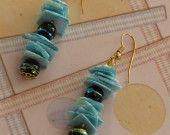 Boucles d'oreille Coquilles bleues : Boucles d'oreille par josiecoccinelle