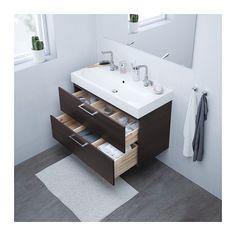 GODMORGON / BRÅVIKEN Sink cabinet with 2 drawers - black-brown - IKEA