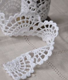 Hand crocheted edging lace trim 54cm / 22 inch by woolnwhite