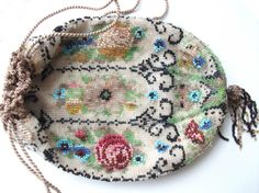 Antique Victorian or Edwardian Reticule Beaded Florals Drawstring Bag Purse | eBay