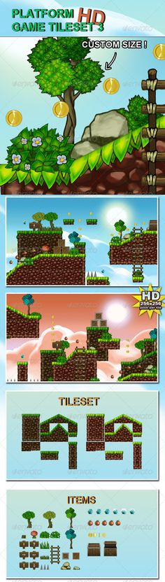 Platform Game Tileset 3 HD - Tilesets Game Assets