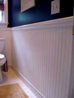 Bathroom Ideas, Beadboard Wallpaper. I love the navy blue against the bright white!