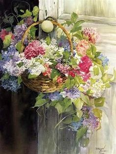 """""""Hanging Hydrangeas"""" by Carolyn Blish, a Member of the American Watercolor Society, the American Artists Professional League, & Allied Artists of America ...."""