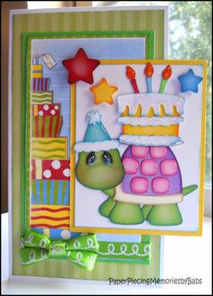 Turtle Birthday Greeting Card created by Paper Piecing Memories by Babs