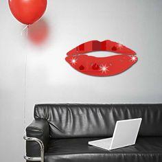 Creative Mirror-Like Art Romantic DIY Wall Sticker Lip Shape Living Bedroom Decoration Wall Art Sticker 4 Colors