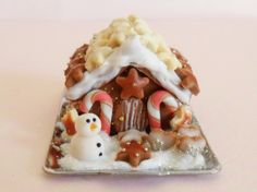 Seasonal miniature gingerbread house dollhouse by MagentaMinis