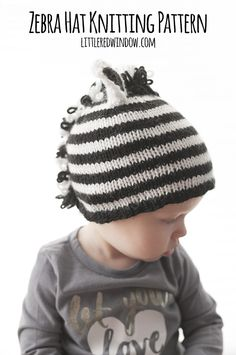 You'll love knitting this adorable stripey zebra hat with this free knitting pattern! Kids Knitting Patterns, Baby Hat Knitting Pattern, Baby Hat Patterns, Knitting For Kids, Easy Knitting, Knitting Stitches, Knitting Projects, Sweater Patterns, Crochet Pattern