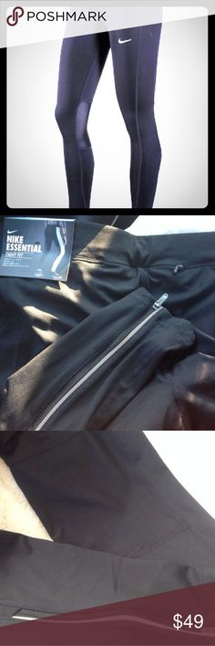 """NIKE full-length essential legging size L🆕NWT! New with tag. Size L (Large). NIKE Essential black full length tight fit Dri-Fit """"Stay Warm"""" black running leggings. Currently selling $60 in stores! Reflective zippers at the bottoms. Small zip key pocket. Mesh back of the knee parts (see pic #3). Best running leggings in my opinion. Whoever designed them, thought about every detail. Hurry, they will sell fast! You can't go wrong with these athletic pants, they are just perfect! Please see my…"""
