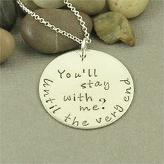 You'll stay with me.... Harry Potter Inspired Hand Stamped Sterling Silver Necklace. $42.00, via Etsy.