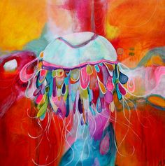 """Artículos similares a Jellyfish Print Stunning colors of Reds Oranges Blues Yellows """"Dance of the Jellyfish"""" abstract style by Jodi Ohl en Etsy Abstract Styles, Abstract Art, Medium Art, Beautiful Artwork, Mixed Media Art, Art Lessons, Amazing Art, Prints, Jellyfish Species"""