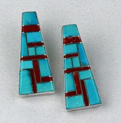 C Aguilar and Ronnie Willie Sterling silver clip earrings.     #nativeamericanjewelry     http://www.leotasindianart.com/handmade/native-american-indian-jewelry/southwest-american-indian-earrings/