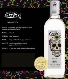 Exotico Tequila Blanco - Premium, unaged 100% agave tequila produced in the hoghlands and lowlands of Jalisco. This clear and bright tequila is robust with fresh agave, hints of pepper and herbal notes