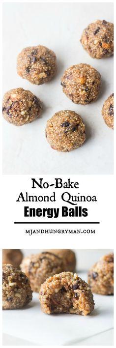 No Bake Almond Quinoa Energy Balls - a nutritious, portable snack! #AD #CrunchOn