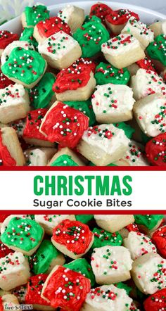 Christmas Sugar Cookie Bites - one of our favorite Christmas Desserts is this un. - Christmas Sugar Cookie Bites – one of our favorite Christmas Desserts is this unique take on a cl - Best Christmas Desserts, New Year's Desserts, Christmas Sugar Cookies, Christmas Cooking, Holiday Treats, Holiday Recipes, Christmas Cupcakes, Christmas Parties, Christmas Deco