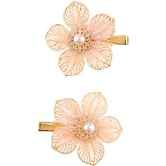 Monsoon 2x Pretty Lace Wire Flower Clips ($8) ❤ liked on Polyvore featuring accessories, hair accessories, beaded hair clips, hair clip accessories, barrette hair clip, flower hair clip and flower hair accessories