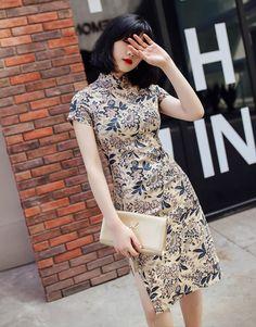 58ac25c2330f8  ELEGANT ミニチャイナドレス チャイナ風ワンピース ドレス 改良型 チャイナ風服 花