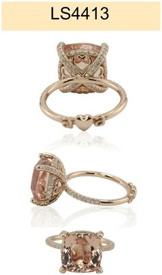 Morganite Engagement Ring Personalized with Your Initials! - LS4413