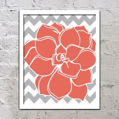 Bold Colorful Dahlia Flower Chevron Coral Grey Gray Decor Wall Art Poster Nursery Print Bedroom Bathroom on Etsy, $12.00