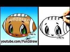 Draw Cartoons Easy Cartoon Drawing Tutorials - How to Draw a Cute Football - Cartoon Drawing Tutorial, Cartoon Girl Drawing, Drawing Tutorials, Drawing Cartoons, Drawing Videos For Kids, Easy Drawings For Kids, Cute Drawings, Doodle Drawings, Doodle Art