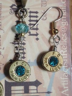Bullet Casing Jewelry set 9mm (Necklace and dangle Earrings) Up Cycled Shell Casing w Teal Aqua Crystal.