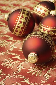 #Red and gold #Christmas ornaments ... by rosalyn