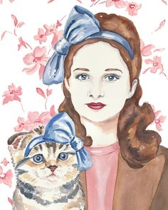 @Janine Reese Pastrana when Emma grows up and gets a cat I will get her this ;) // Watercolor Portrait PRINT - Scottish Fold Cat, Woman Watercolour, Cat Lady, 11x14 Print