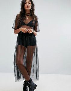 Inspiration from the Catwalk to the Streets: Transparent Dress Trend - Street Style Outfits Rave Outfits, Dress Outfits, Fashion Outfits, Womens Fashion, Girly Outfits, Dresses Dresses, Dress Fashion, Dresses Online, Casual Dresses