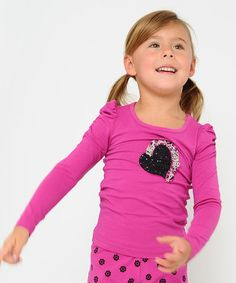 Look what I found on #zulily! Pink & Black Heart Puff-Sleeve Top - Toddler & Girls by Giovanna & Felice #zulilyfinds