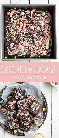 Chocolate Bark Easter Brownies via via When you can't decide if you want a chocolate bar or gooey chocolate brownies, there's always Chocolate Bark Brownies. The best of both worlds and perfect for any holiday. Easter Deserts, Easter Treats, Easter Recipes, Holiday Recipes, Dessert Recipes, Easter Baking Ideas, Baking Desserts, Recipes Dinner, Cake Recipes