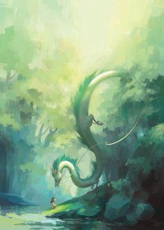 Haku - spirited away | studio ghibli ,ovie miyazaki | white and green long giant dragon fan art